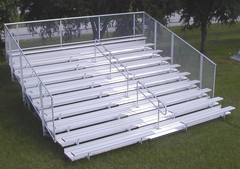10 Row Portable Bleachers Series w/ Guardrails & Aisle - Aluminum Frame