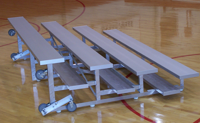 4 Row Tip-N-Roll Low Rise Bleachers w/ 12 inches seat, Single Footboards- Aluminum Frame (LU-0415AS-TR)