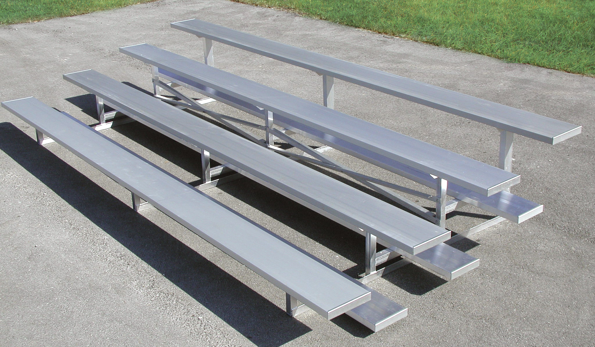 4 Row Portable Standard Bleachers w/ Single Footboards and Aluminum Frame