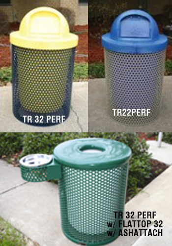 Perforated Style Trash Receptacles