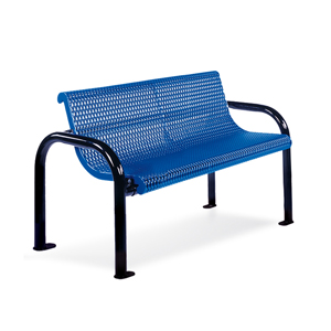 4' Ultra Contour Bench with Perforated Seat and Portable / Surface Mount - F1026