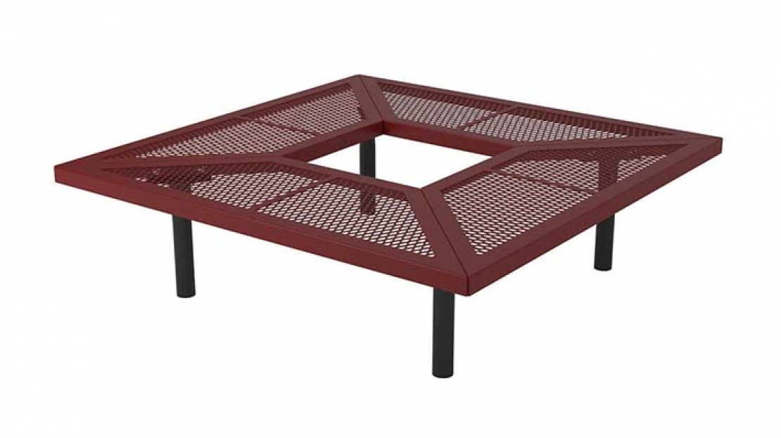 60 in. Square Geometric In-Ground Mount Bench, Textured Poly Finish