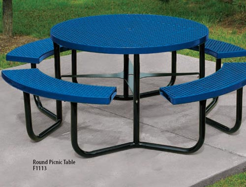 Plastisol Coated Steel PVC Rectangular Picnic Tables Playground - Round picnic table with benches