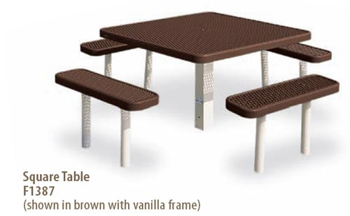 Plastisol Coated Steel (PVC) Square Picnic Table - Playground ...