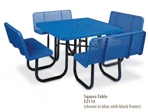 Plastisol coated steel pvc square picnic table playground f2114 expanded metal 8 leg frame seats wback watchthetrailerfo