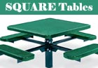 PVC or Plastisol Coated Steel - Square Picnic Tables